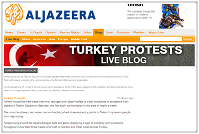 Al Jazeera LIve Blog Turkey