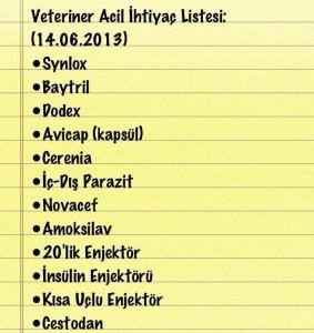veteriner ilac listesi