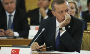 Turkish Prime Minister Erdogan attends the first working session of the G20 Summit in Constantine Palace in Strelna near St. Petersburg