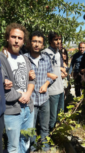 Ağaçları kol kola girerek savunan direnişçilere polis biber gazı ve copla saldırdı.