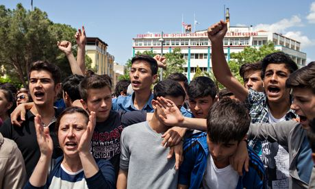 "Young people protest outside the mayor's office in Soma, calling the Turkish government ""liars"". Photograph: Bradley Secker/Demotix/Corbi"