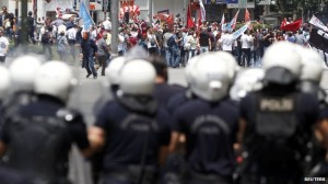 Protests erupted across Turkey after a police crackdown on peaceful protests in Gezi Park last year